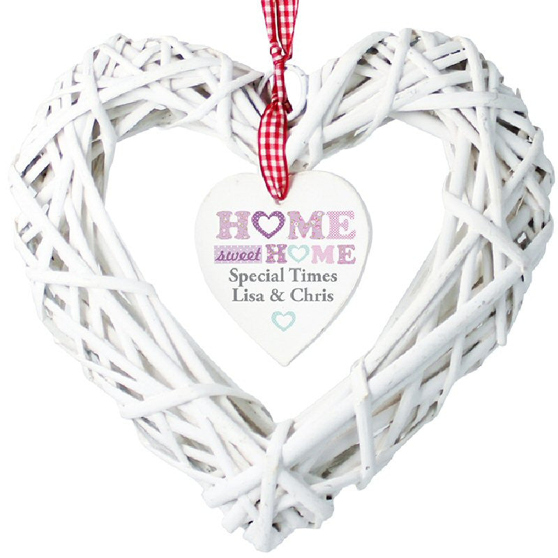 Home Sweet Home Personalised Wicker Heart - Harringtons