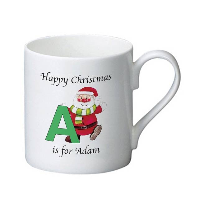 Father Christmas Design Personalised Bone China Mug