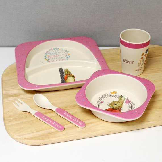 Flopsy Rabbit Personalised Child's Bamboo Eco-Friendly Breakfast / Dinner Set