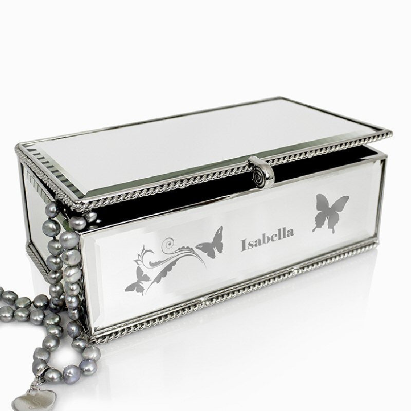 Butterfly Swirl Mirrored Glass Personalised Jewellery Box - Harringtons