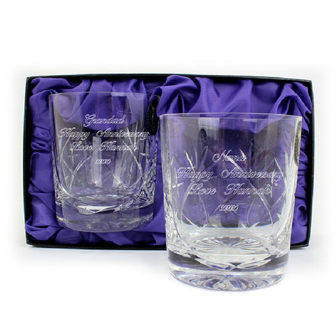Pair Of Personalised Lead Crystal Whisky Glasses Retirement Gift - Harringtons