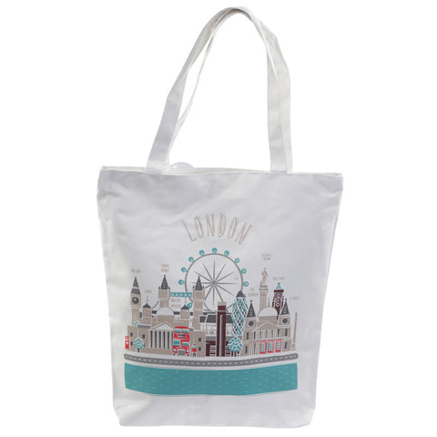 London Design Cotton Zip Up Shopping Bag