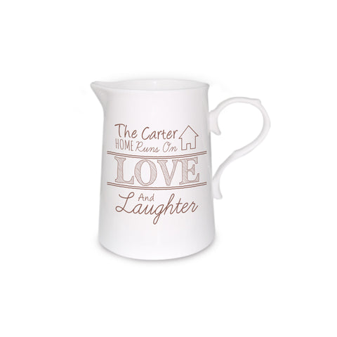 Bone China Love and Laughter Personalised Farmhouse Jug