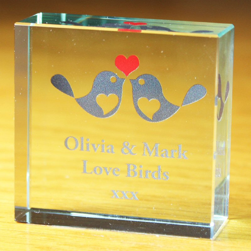 Love Birds Personalised Crystal Engagement Token - Harringtons