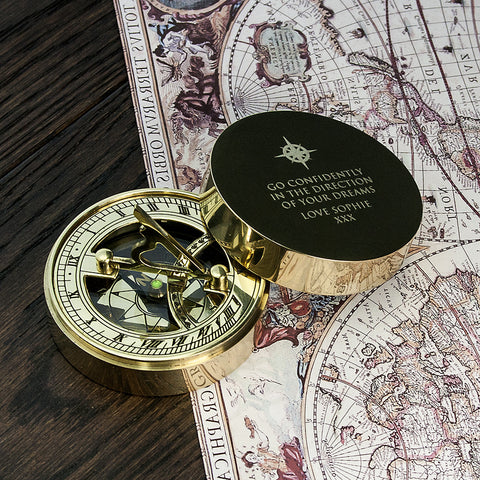 Iconic Adventurer's Sundial Personalised Compass - Harringtons