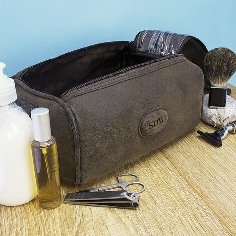 Men's Personalised Textured Double Zipped Wash Bag - Harringtons