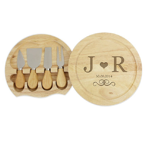 Engagement Gift Monogram Chopping Board With Cheese Knives - Harringtons