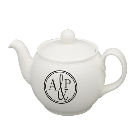 Black & White Monogrammed Teapot - Harringtons