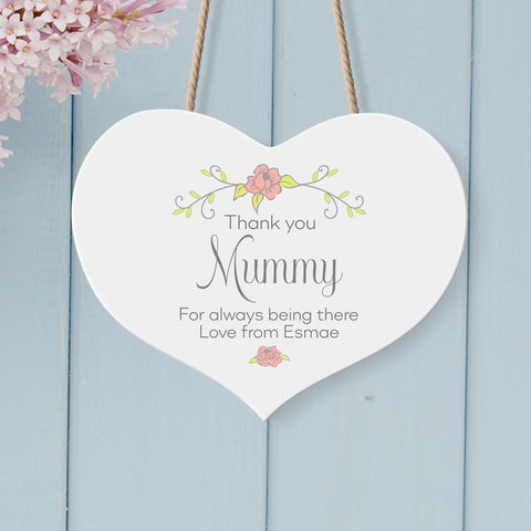 Thank You Mummy Personalised Wooden Heart Sign