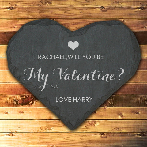 Be My Valentine Personalised Slate Heart Keepsake