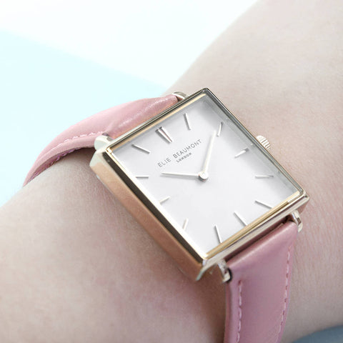 Elie Beaumont Blush Pink Leather Personalised Watch