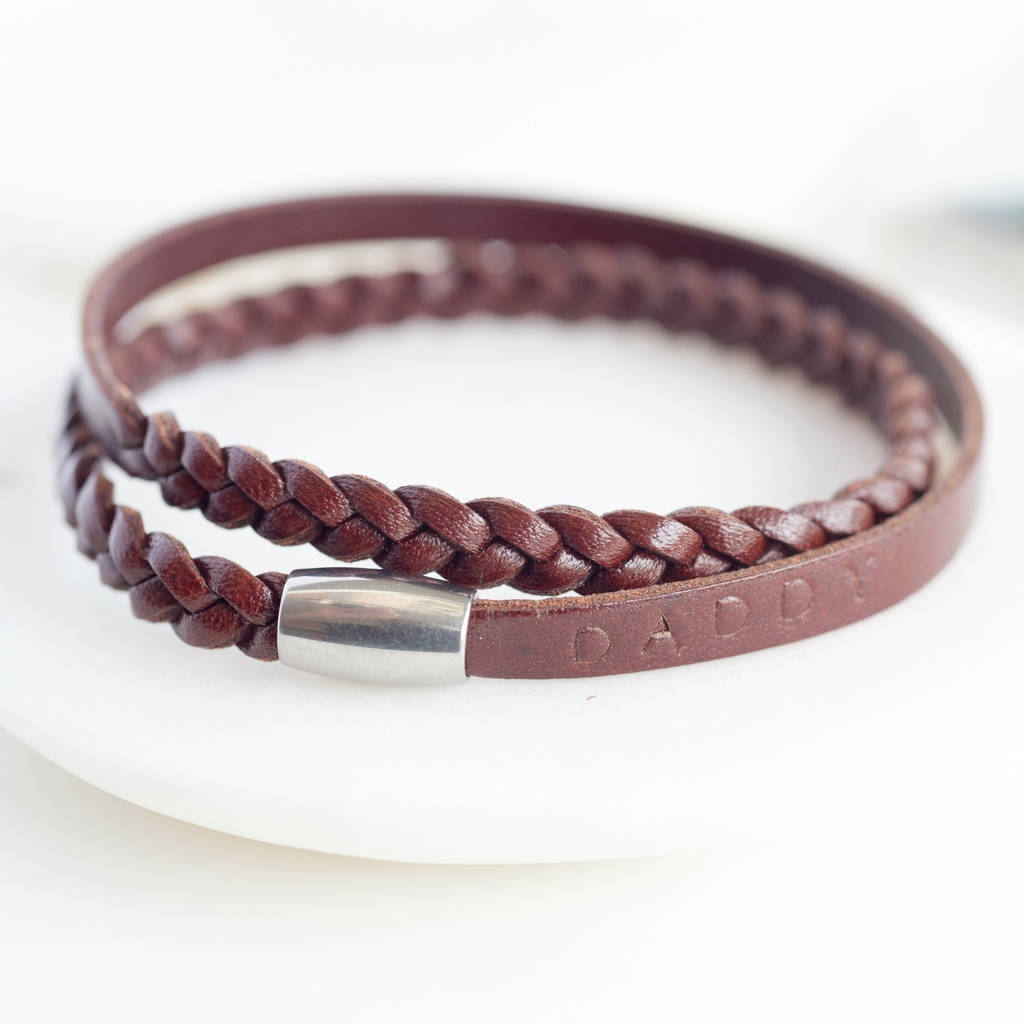 Gent's Personalised Leather Wrap Wristband