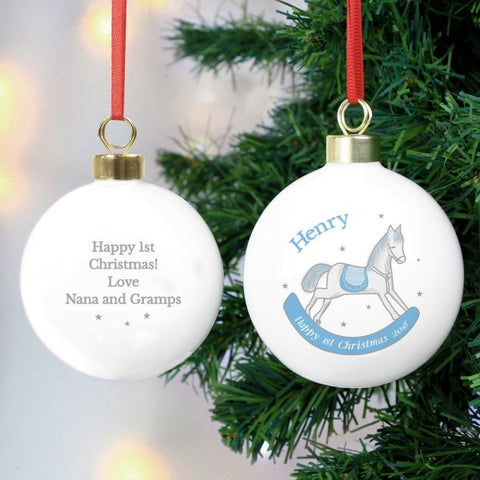 1st Christmas Personalised Blue Rocking Horse Christmas Tree Bauble