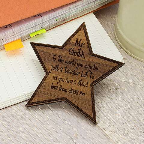 My Teacher Is A Star Personalised Wooden Fridge Magnet
