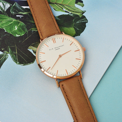 Personalised Lady's Leather Watch In Camel - Harringtons
