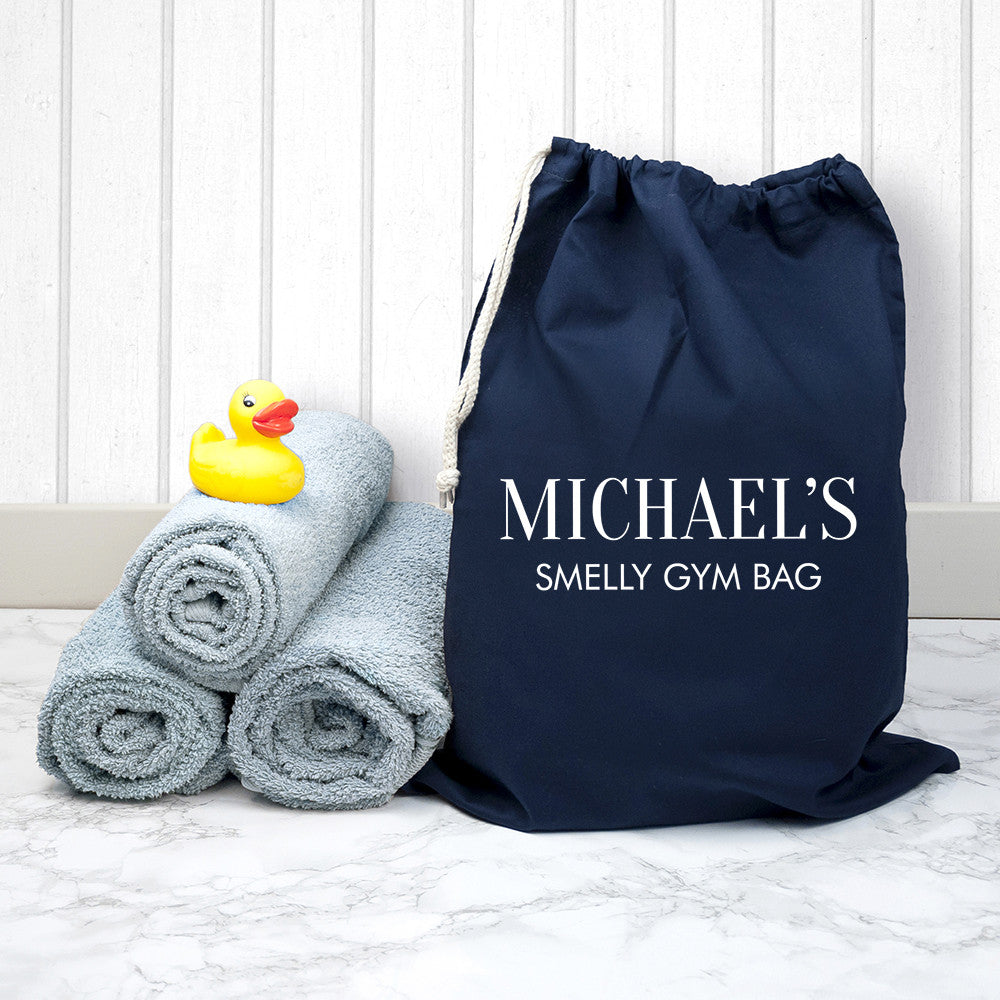 Cotton Navy Personalised Gym Bag