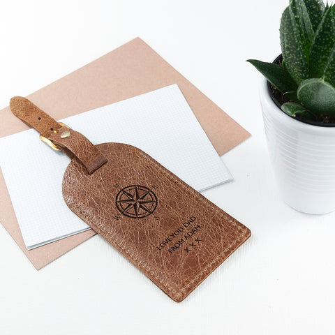 Personalised Natural Tan Leather Luggage Tag