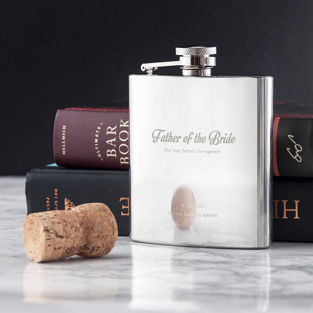 For After The Speech Father Of The Bride Hip Flask