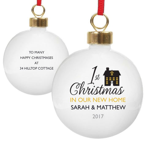 1st Christmas In Our New Home Personalised Christmas Tree Bauble