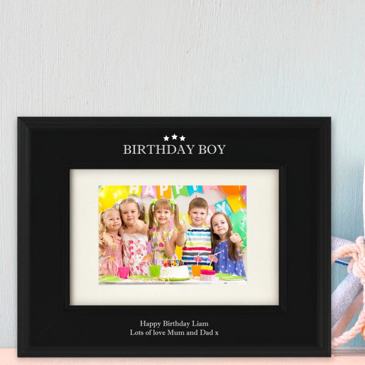 Birthday Boy Personalised Black Wooden Photo Frame - Harringtons