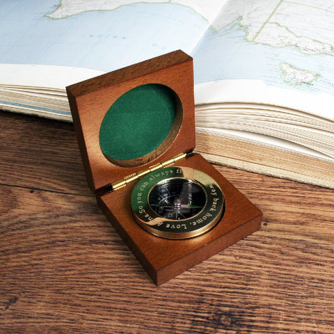 Personalised Brass Travellers Compass With Wooden Box - Harringtons