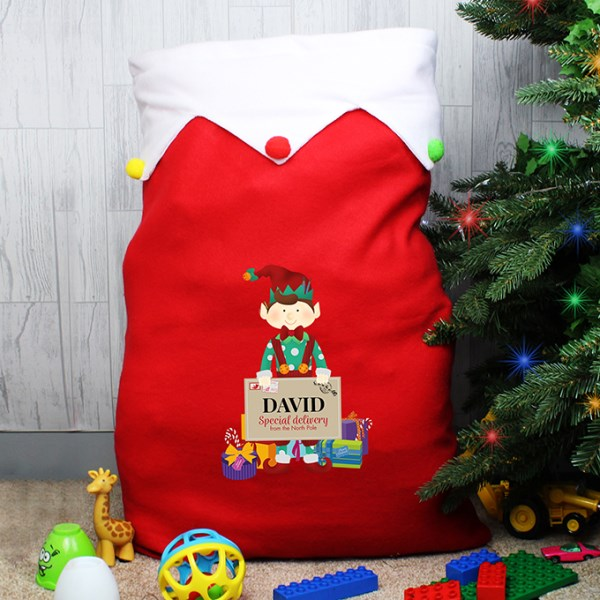 Christmas Elf Personalised Luxury Christmas Sack