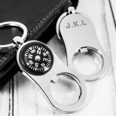 Personalised Compass Keyring and Bottle Opener - Harringtons