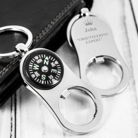 Orienteering Expert Personalised Compass Keyring and Bottle Opener - Harringtons