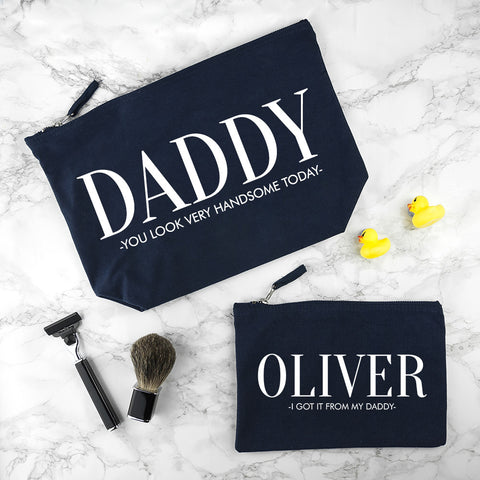 Daddy & Me Personalised Navy Wash Bags
