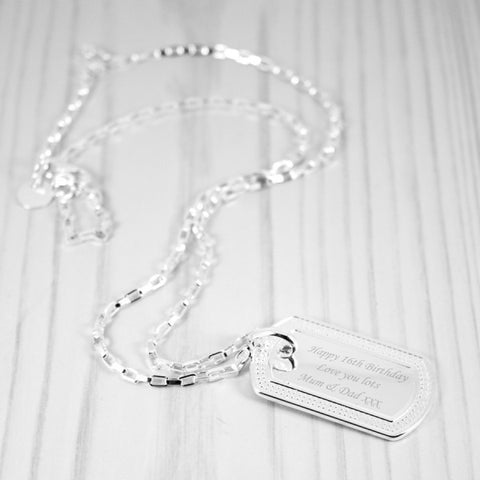 Engraved Diamante Message Tag Necklace - Harringtons