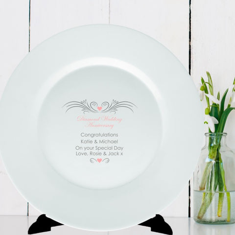 Diamond Anniversary Personalised Ceramic Plate With Stand - Harringtons