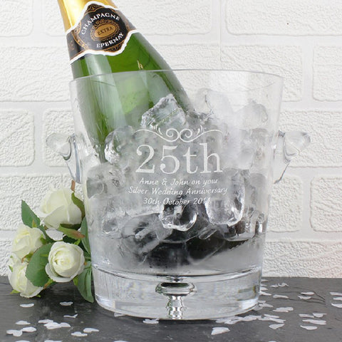 Anniversary Engraved Glass Ice Bucket - Harringtons