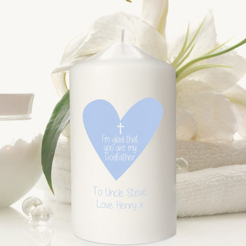 Blue Heart Personalised Godfather Candle