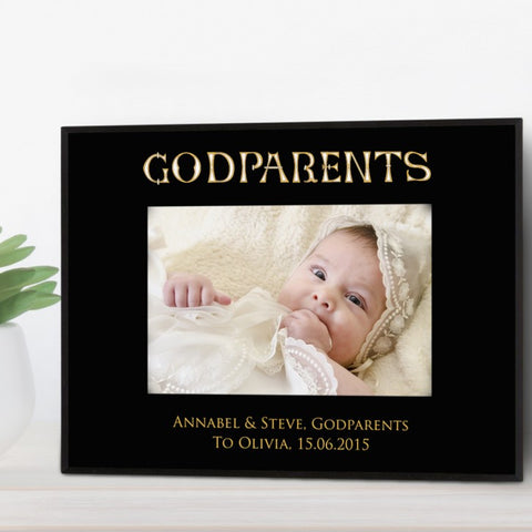 Black Glass Personalised Photo Frame For Godparents