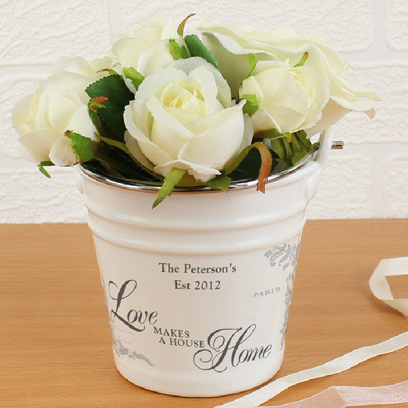 Love Makes A House Home Personalised Porcelain Bucket - Harringtons