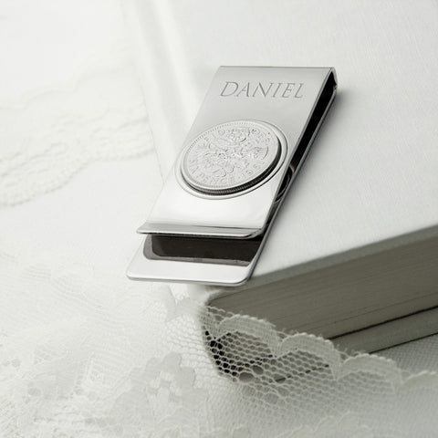 Personalised Silver Plated Lucky Sixpence Money Clip - Harringtons