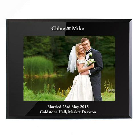 Black Glass Personalised Photo Frame - Harringtons