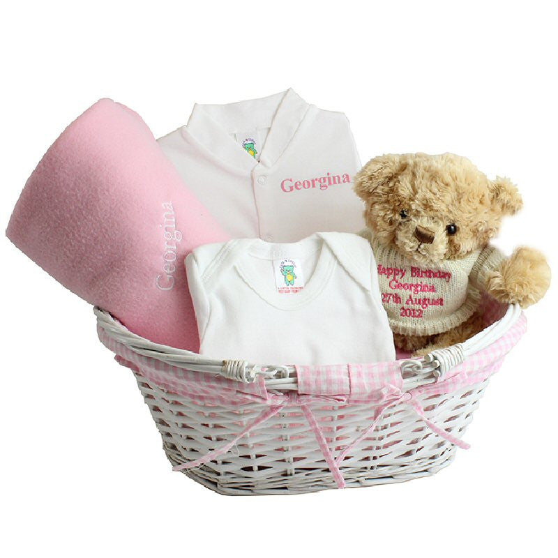 Pink Personalised Baby Gift Basket - Harringtons