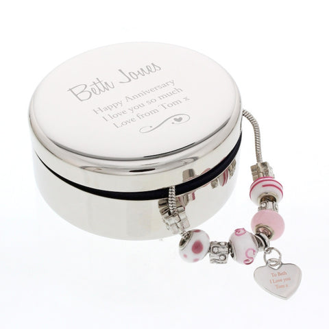 Candy Pink Heart Charm Bracelet In Personalised Swirls & Hearts Round Trinket Box