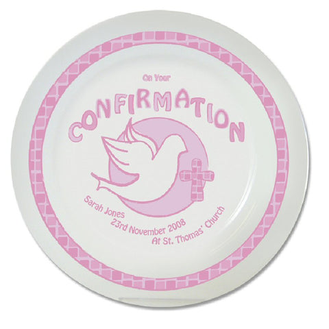 Pink Personalised Confirmation Plate - Harringtons