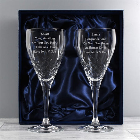 Engraved Crystal Wine Glass Set In Silk Lined Gift Box