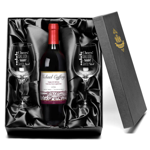 Contempory Cheers Design Wine Glasses & Personalised Red Wine Gift Set