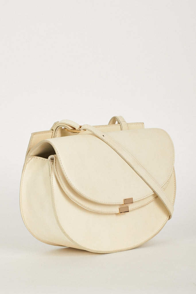 Beige Cross Body Bag With Double Magnet Closure