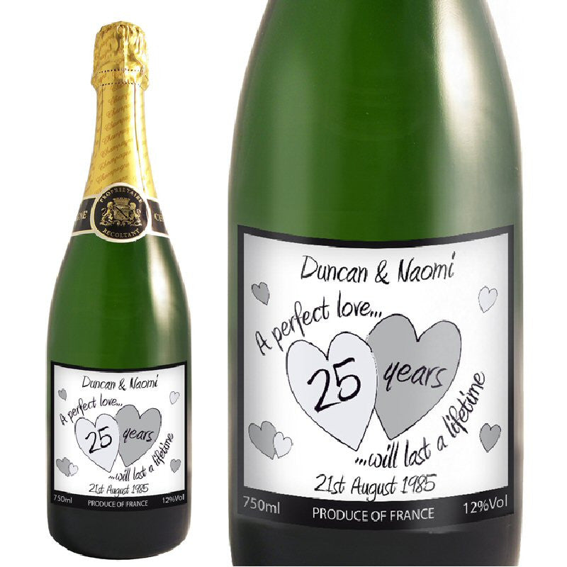 Silver Anniversary Personalised Champagne In Gift Box - Harringtons