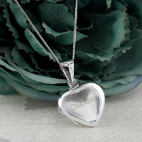 Engraved Silver Heart Locket - Harringtons