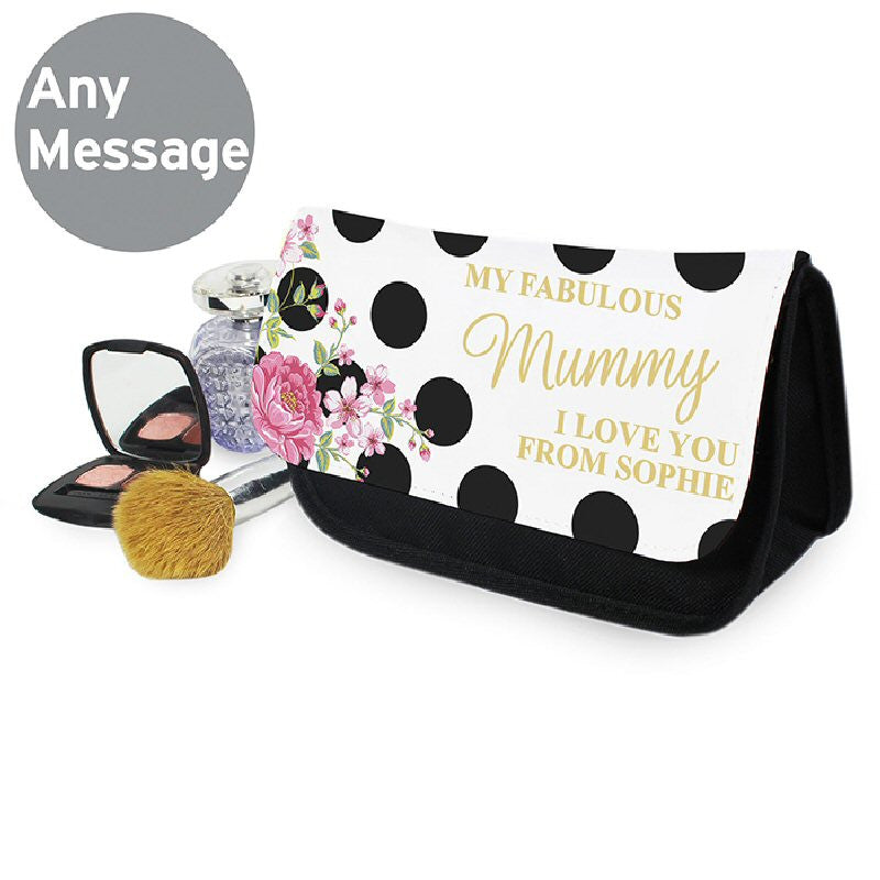 Floral Dot Personalised Make Up Bag - Harringtons