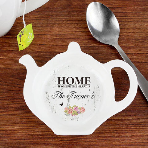 Home Is Where The Heart Is Personalised Ceramic Teabag Rest - Harringtons