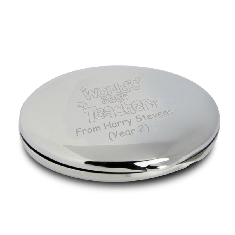 World's Best Teacher Personalised Round Compact Mirror - Harringtons
