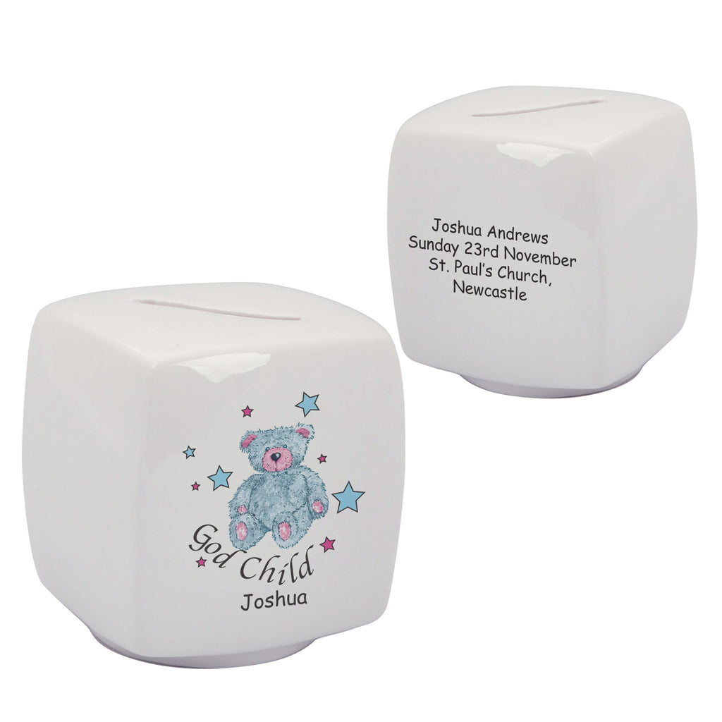 Blue Teddy Personalised China Godchild Bone China Money Box