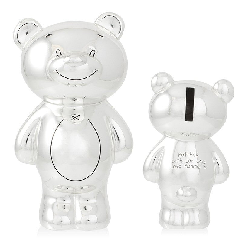 Engraved Silver Plated Teddy Bear Money Box - Harringtons